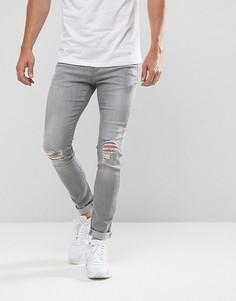Выбеленные зауженные джинсы Brooklyn Supply Co - Синий