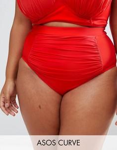 Поддерживающие плавки бикини с драпировкой ASOS CURVE - Красный
