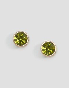Позолоченные серьги-гвоздики с камнями Pilgrim - Зеленый