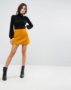 Вельветовая мини-юбка Brave Soul - Желтый