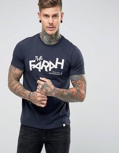 Темно-синяя узкая футболка с принтом Farah - Темно-синий