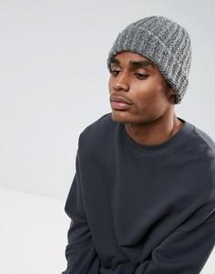 Серая шапка-бини в рыбацком стиле из пряжи букле ASOS - Серый