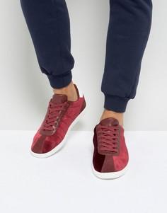 Бордовые кроссовки из бархата в стиле ретро ASOS - Красный