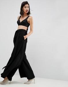 Широкие брюки с перекрестной отделкой ASOS PREMIUM - Черный