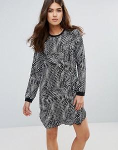 Цельнокройное платье с длинными рукавами Pieces Dolly - Серый
