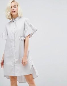 Платье-рубашка с оборкой по нижнему краю Lost Ink - Серый