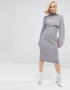 Облегающее платье с высоким воротником и вставкой-бралетт Lost Ink - Серый