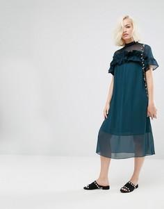 Свободное платье с полупрозрачной вставкой и оборкой Lost Ink - Зеленый