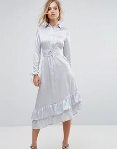 Платье миди с отделкой в стиле корсета Lost Ink - Серый