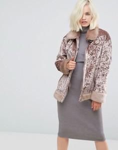 Бархатная байкерская куртка Lost Ink - Розовый