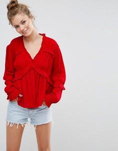 Повседневная блузка из жатой ткани ASOS - Красный