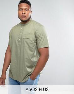 Рубашка цвета хаки классического кроя с воротом на пуговице ASOS PLUS - Зеленый