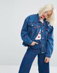 Комбинируемая джинсовая оверсайз-куртка с сердечками Lazy Oaf - Синий