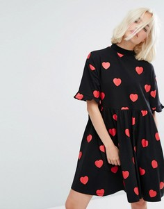 Платье-футболка мини с принтом сердец и оборками Lazy Oaf - Черный