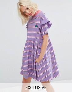 Свободное платье в полоску с короткими рукавами Lazy Oaf - Фиолетовый