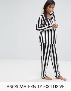 Традиционная пижама в полоску ASOS Maternity - Черный