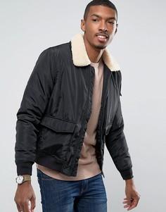Легкая утепленная куртка Харрингтон с воротником из искусственного меха Brave Soul - Черный