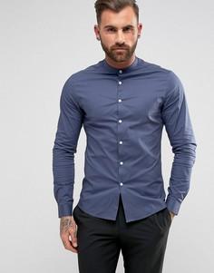 Темно-синяя рубашка скинни с воротником-стойкой ASOS - Темно-синий