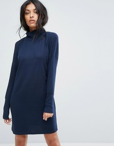 Трикотажное платье с рукавами летучая мышь и отворотом на вороте Noisy May - Темно-синий