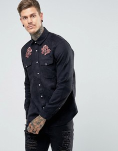 Рубашка навыпуск с цветочной вышивкой ASOS - Черный