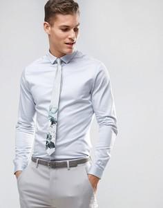 Атласная облегающая рубашка голубого цвета с планкой на пуговицах ASOS Wedding - Синий