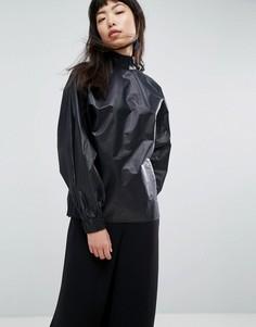 Блузка металлик с высоким воротником и сборками на спине ASOS WHITE - Черный