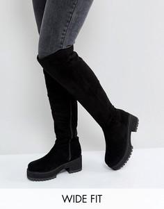 Ботфорты для широкой стопы на массивном каблуке ASOS KITSCH - Черный