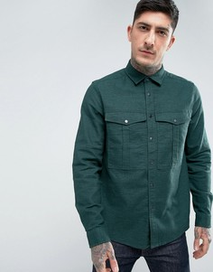 Зеленая рубашка навыпуск из ткани с добавлением льна на кнопках ASOS - Зеленый