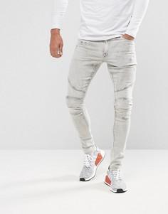 Светло-серые супероблегающие джинсы в байкерском стиле ASOS - Серый