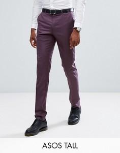 Фиолетовые зауженные брюки из 100% шерсти ASOS TALL - Фиолетовый