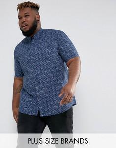 Темно-синяя рубашка с коротким рукавом и цветочным принтом Duke PLUS - Темно-синий