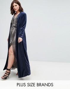 Темно-синее бархатное пальто Elvi - Темно-синий