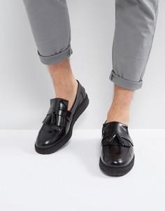 Черные кожаные лоферы с кисточками Fred Perry X George Cox - Черный