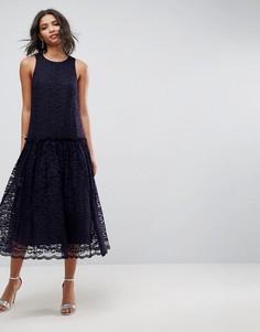 Свободное кружевное платье миди с заниженной талией ASOS - Темно-синий