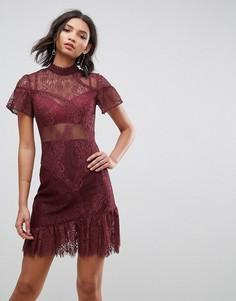 Кружевное платье мини с асимметричным краем ASOS - Мульти