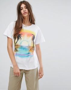 Свободная футболка с принтом заката Stussy - Белый