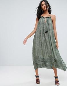 Шелковое платье миди с леопардовым принтом To Be Adored Mellitsa - Зеленый