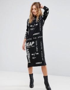 Черное платье с графическим принтом Cheap Monday - Черный