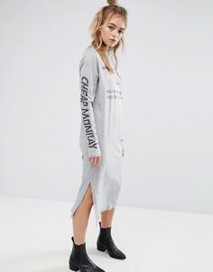 Серое меланжевое платье с принтом Cheap Monday - Серый