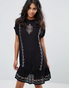 Платье из жатого хлопка с вышивкой Rage - Черный