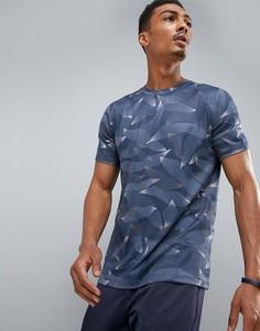 Темно-синяя футболка с камуфляжным принтом Perry Ellis 360 Sports - Темно-синий