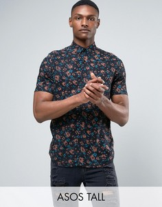 Рубашка классического кроя с размытым цветочным принтом ASOS TALL - Черный