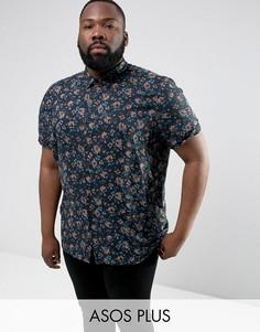 Рубашка классического кроя с цветочным принтом ASOS PLUS - Черный