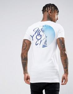 Удлиненная обтягивающая футболка с принтом New York на спине ASOS - Белый