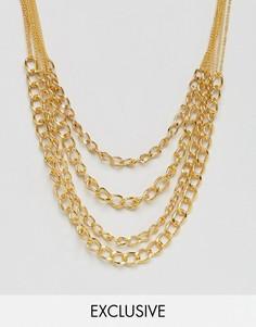 Ожерелье из цепочек Reclaimed Vintage Inspired - Золотой