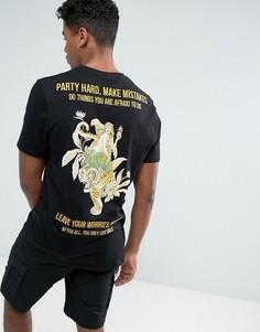 Длинная футболка с принтом и вышитыми надписями ASOS - Черный