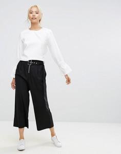 Широкие брюки с поясом и молниями House Of Sunny - Черный