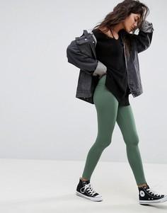 Леггинсы цвета хаки с завышенной талией ASOS - Зеленый