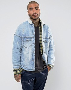 Синяя джинсовая куртка с подкладкой и воротником из искусственного меха Sixth June - Синий