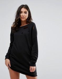 Свободное платье-свитер с рваной отделкой Missguided - Черный